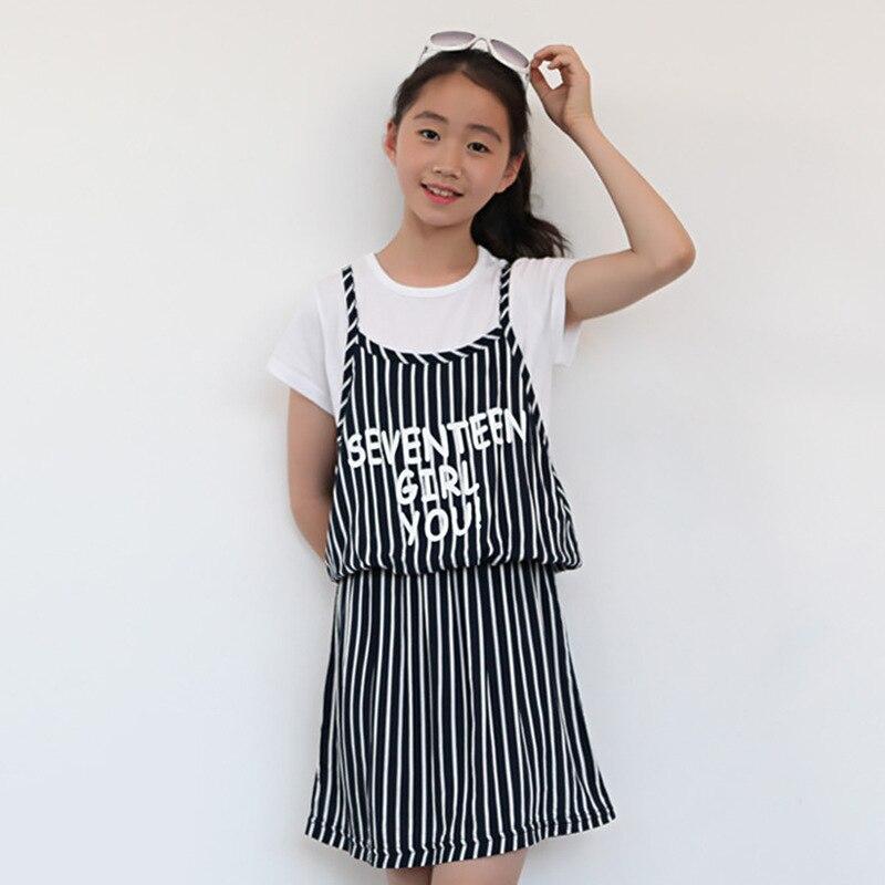 princess kids girl dresses letters printed white black striped little teenage girls summer dresses 2017 new children clothing<br><br>Aliexpress