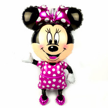Giant Minnie Mickey Foil Balloons Rose Red Bowknot Standing Mouse Red Mickey Wedding Birthday Party Decor Supplies Globos(China)