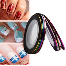 1mm 10Rolls/Lot Colorful Nail Shining Striping Line Tape Sticker Set Nail Art Decorations DIY Tips Polish Gel Manicure LANC391