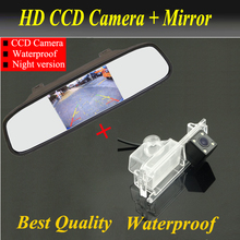2 in1 Special  Rear Camera  + Mirror Monitor Basy DIY Back Up Parking System For KIA Rio K2 UB Hatchback 2011~2015