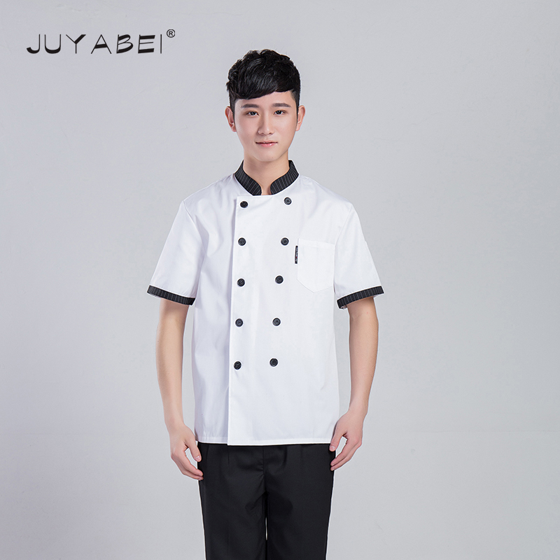 2017 New Shelves Chef Jacket Food Service Short-sleeved Summer Hotel Short-Sleeved Chef Uniforms Collar Collar Chef Clothing(China (Mainland))
