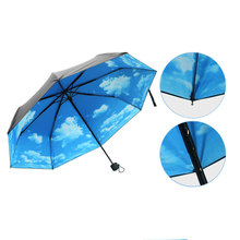 Summer 2017 Ultra-light Anti-UV Umbrellas Sun Protection Parasol Printing Rain Blue Sky 3 Folding Drop Umbrella for Men Women(China)