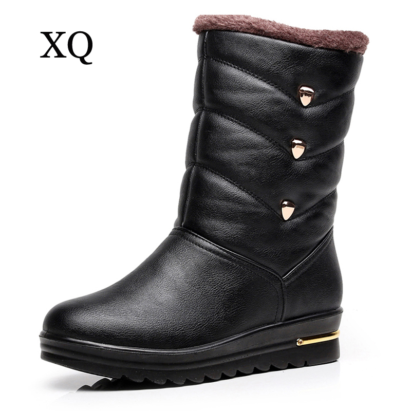 Women boots high quality waterproof mid-calf boots 2017 new arrivals warm plush winter shoes platform snow boots <br>