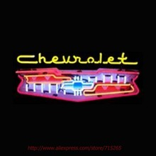 Neonetices 5CHGRL Cars and Motorcycles Chevrolet Grill Neon Sign Neon Bulbs Real Glass Tube Handcrafted Decorative Game 28x18(China)