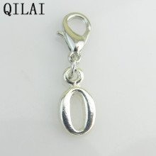 New Fashion silver number '0(zero)' dangle charms with lobster clasp for DIY jewelry living floating lockets(China)