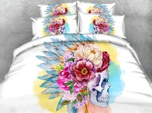Royal Linen Source 4 Parts Per Set Bed Sheet Set Sugar Skull Water color Warrior Princess 3d Bedding Set