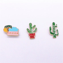 Europe United States foreign trade jewelry manufacturer wholesale British wind green Cactus plants brooch(China)