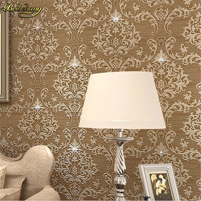 beibehang Papel de parede Damask Diamond European Crystal Vinyl Wallpaper Rolls for living room 3d wall paper roll wallcovering<br>