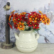 2Pcs Artificial Chrysanthemum Carnation Cineraria Fake Flower Bush Bouque Home Garden Wedding Decor