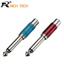 Nickel plating RCA Jack Audio Connector 6.35mm Mono Plug to RCA Speaker Adapter with Luxury Quality Blue & Red in 1pair(China)