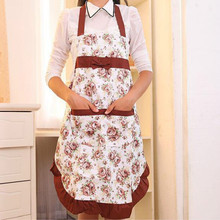 Women Anti Dirty Flowers Aprons Cooking Aprons With pockets Hot Sale(China)