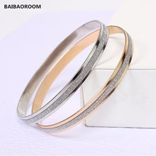 Fashion Double circle matte rose gold bracelets Bangles