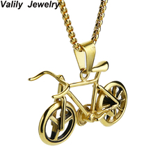 Valily Jewelry Gold Color Bicycle Pendant Necklace For Men/Women Stainless Steel Bike Pendant Rock Sport Jewelry Long Necklaces