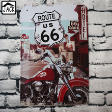 Route US 66 Motorcycle Vintage House Hall tin sign Lounge Club Pub Cafe Plaque Bar Shop Poster Plate Wall Decor 20*30CM
