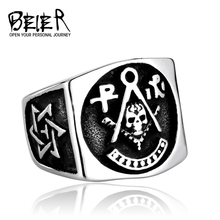 BEIER New Masonic Mason Signet Ring For Man Factory Price Stainless Titanium Steel Punk Heavy Metal Jewelry BR8-219