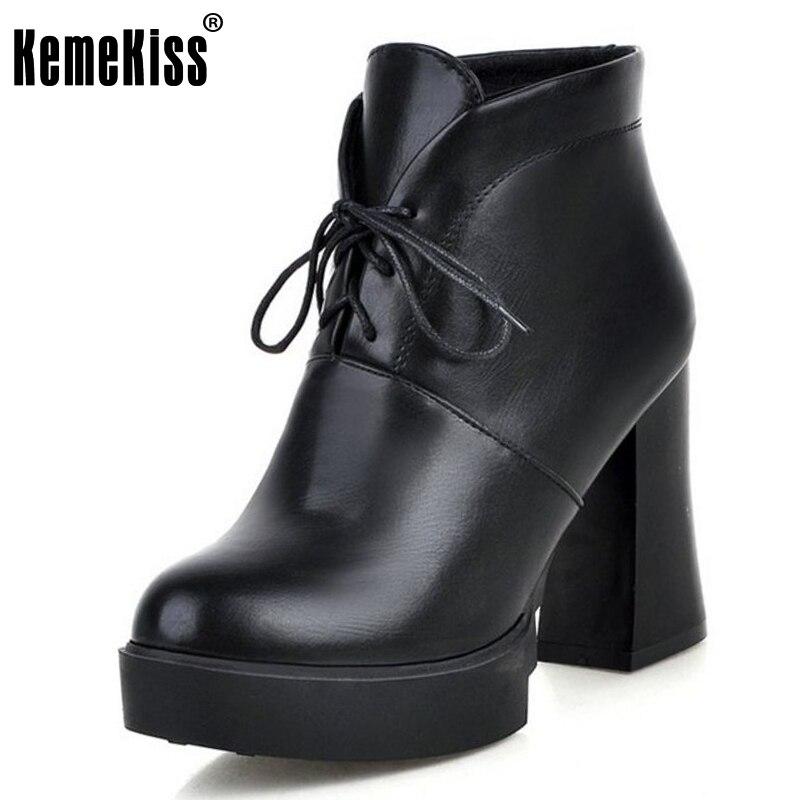 KemeKiss Size 33-43 Women Ankel Platform Boots Cross Strap High Heel Boots Thick Fur Shoes In Winter Botas Sexy Women Footwears<br>