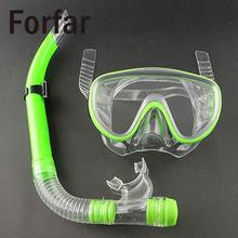 Forfar Swimming Scuba Anti-Fog Goggles Mask Dive Under water Diving Glasses Submersible w/ Dry Snorkel Set 3 Colors Silicon