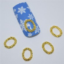 50Pcs new Gold oval, 3D Metal Alloy Nail Art Decoration/Charms/Studs,Nails 3d Jewelry H028(China)