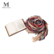 MEICHE 2017 Fashion Soft Tassel Plaid cashmere Square Shawls & Scarves Warm Cashmere scarf Women scarf winter(China)