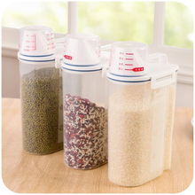 Kitchen Food Storage Boxes Plastic Grain Rice Storage Container Handle Cereal Bean Sealed Box with Measuring Cup Organizer Tank