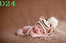 Free shipping Children 100% cotton handmade Crochet hat Beanie Sock Monkey Baby boy Hat