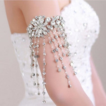 MHS.SUN Fashion Bridal Bracelets Wedding Hand Accessories Rhinestone Hand Chain Ribbon bracelet with Crystal beads tassel FY002(China)