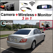 3 in1 Special Rear View Camera + Wireless Receiver + Mirror Monitor Backup Parking System For TOYOTA Reiz Mark X MarkX 2004~2009