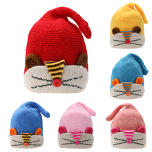 Lovely Warm Newborn Photo Props Baby Infant Girls Boys Cute Cartoon Fox Wool Handmade Knit Hat Caps Beanie For 0-4 Months(China)