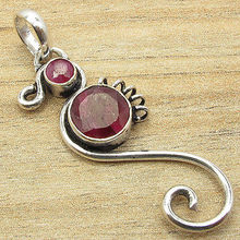 Give The Gift !!!  Silver Plated Red Cut rubi 2 Gem HANDCRAFTED Pendant