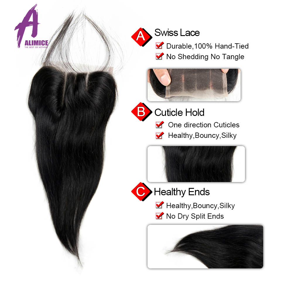 ALIMICE Hair Raw Indian Straight Hair Lace Closure 4x4 100% Human Hair Closure 8-24 Inch Natural Color 100% Non Remy Human Hair (1)
