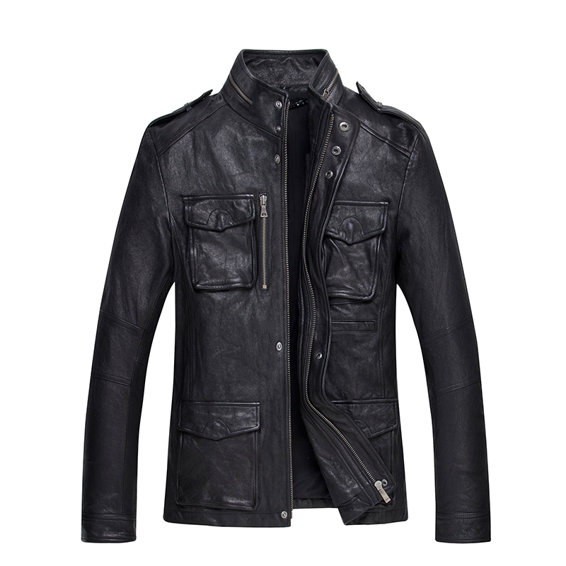 2017 Men Black Genuine M65 Leather Jacket Real High Quality Sheepskin Winter Male Slim Fit Leather Safari Jacket FREE SHIPPING