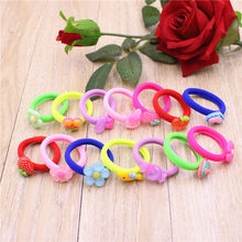 20pcs/lot Cute Cartoon Animal Rubber Bands Diameter 3.5cm Cute Fruit Flowers Rainbow Color Hair Bands Hair Accessories For Girls