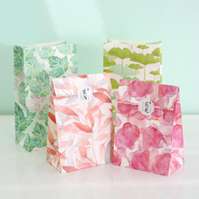 12 sets paper bag natural Petals leaves design gift packaging birthday party candy holding