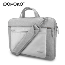 POFOKO high end waterproof laptop bag case for macbook Pro 13 inch 11 15.6 inch laptop messenger briefcase with luggage belt(China)