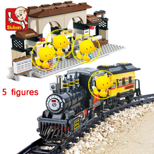 301Pcs Electric Train Building Block Train Station Building Block Eductional Sluban Block DIY Bricks Compatible With lepin 60050