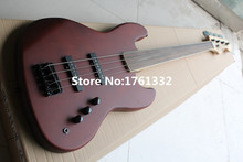 Factory custom Hot sale 4 strings reddish brown electric bass guitar with black hardware,no frets,can be customized