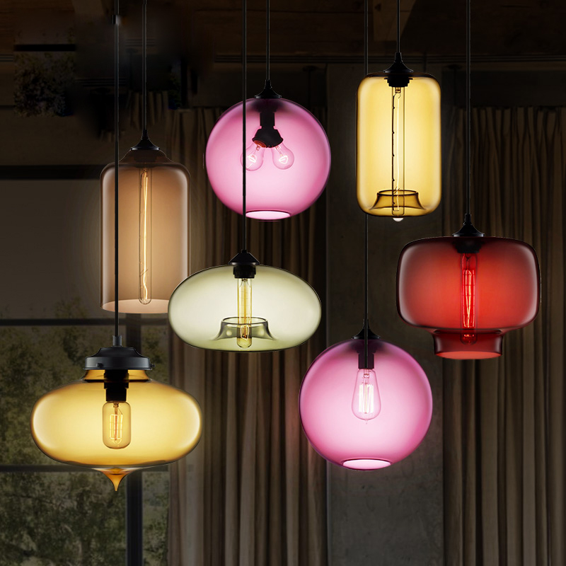 Colorful loft vintage glass pendant lamp coffee bar restarant light  KTV lighting fixture indoor decoration lamp 110v 220v<br>
