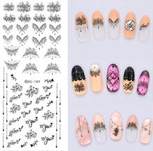 DS189 DIY Nail Design Water Transfer Nails Art Sticker Black Harajuku Water Drop Nail Wraps Sticker Watermark Fingernails Decals