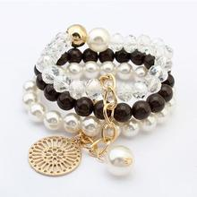 LEMOER 2017 Fashion Multilayer Imitation Stone Pearl Beads Bracelets& Bangles Round Alloy Plate Charm men pulseras mujer