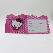 10 Pcs Funny Hello Kitty Print Cartoon Birthday Invitations Card Cute Cat Favor Event Party Supplies for Kid Boys Favors(China)