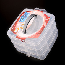 High Quality Three Layer cosmetic Multi-layer Plastic Transparent Nail Art Craft Makeup Jewelry Storage Box BS