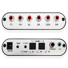 SPDIF Coaxial to 5.1/2.1 Channel AC3/DTS Audio Decoder Gear Surround Sound Rush for STB, DVD player, HD player, Xbox 360