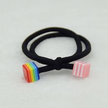 10 piece Fashion Two Rope connected Elastic Hair Bands With Acrylic Beads For Ladies Girls Rubber Hair Rope Hair Accessories(China)