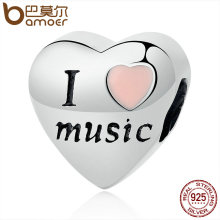 Buy BAMOER Hotsale 100% 925 Sterling Silver Love Music Heart Beads Fit Charms Bracelets & Bangles DIY Accessories SCC120 for $7.29 in AliExpress store