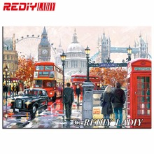 REDIY LADIY Diamond Embroidery Red London Bus Diamond Painting Scenery Cross Stitch Square Drill Mosaic Picture Christmas Decor(China)