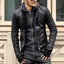 Fashion Black winter Mens short coat wool fur lining slim fit PU leather jackets men brand motorcycle leather jackets men coats(China)