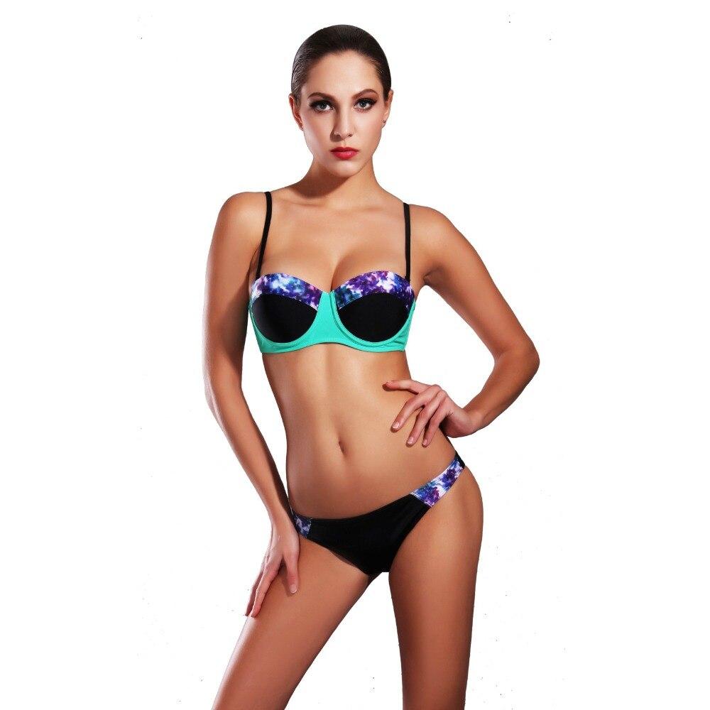 Sexy 2017 New Push up Bra Bikinis Women Swimwear Swimsuit Trendy Printed Underwire Padded Beachwear Strappy Biquinis<br><br>Aliexpress