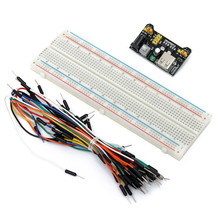 DIY KIT Protoboard Prototype Breadboard Solderless MB102 Power Supply Module 3.3V 5V + Breadboard 830 Point + 65PCS Jumper Cable
