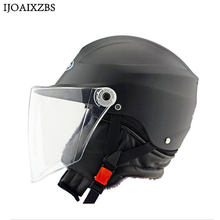 Black Safety Helmet Hard Keep Warm Open Face Detachable Off Road Protect Helmets Motorcycle Cycling Winproof Hat(China)