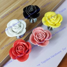 Black/White/Pink/Yellow/Red Single hole zinc alloy ceramic rose furniture handle knobs cabinet handle drawer pulls
